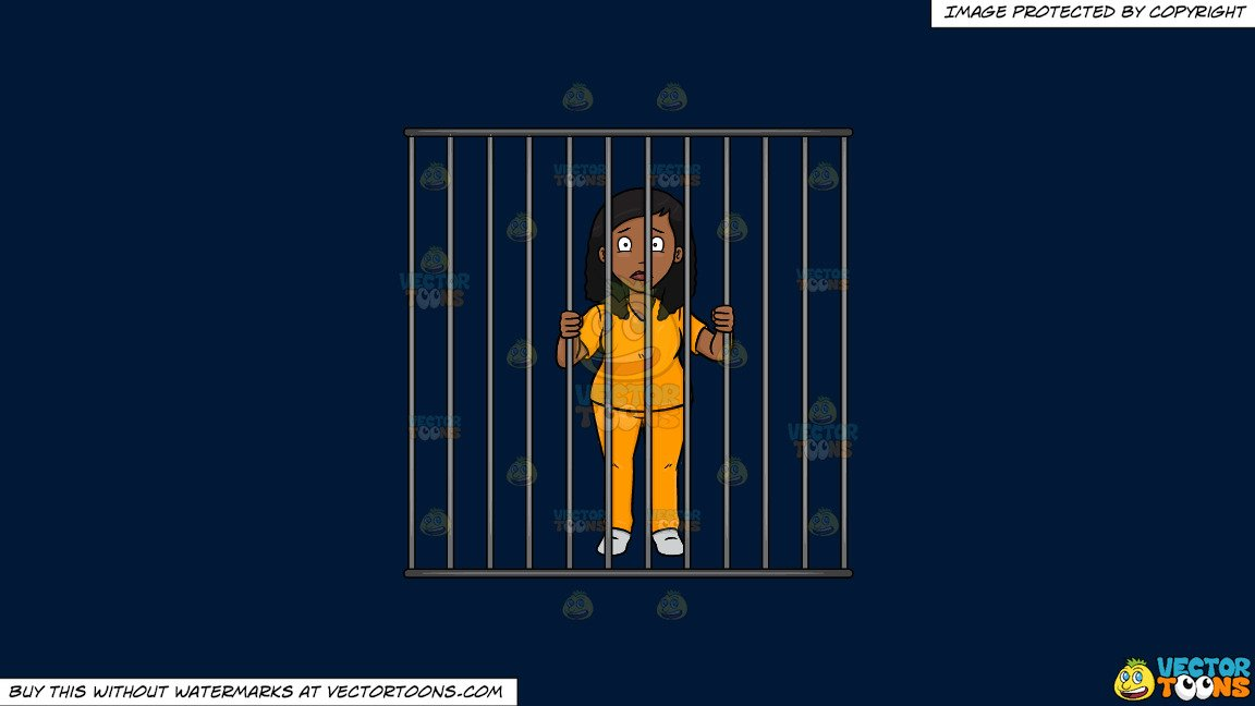 Woman behind bars clipart banner transparent stock Clipart: A Black Woman Behind Bars on a Solid Dark Blue 011936 Background banner transparent stock