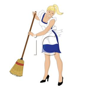 Woman broom clipart image download Clip Art Image: A Smiling Blond Woman with a Broom image download
