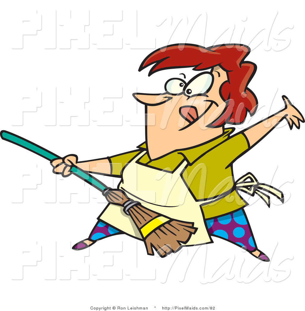Woman broom clipart svg transparent download Clipart of a Red Haired Cartoon Woman Rocking out with a ... svg transparent download
