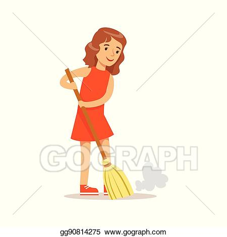 Woman broom clipart jpg library Vector Art - Girl sweeping the floor with the broom smiling ... jpg library