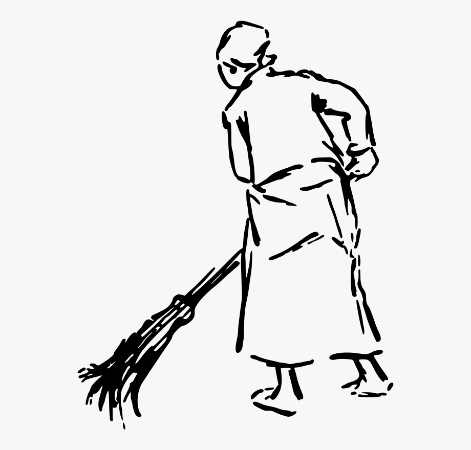 Woman broom clipart svg black and white Broom Clipart Black And White - Drawing Of A Woman Sweeping ... svg black and white