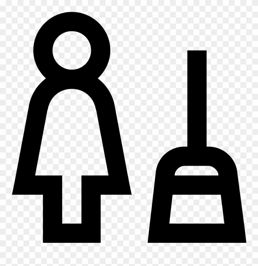 Woman broom clipart banner black and white library This Icon Is Of A Woman With A Broom Sweeping Dust/debris ... banner black and white library