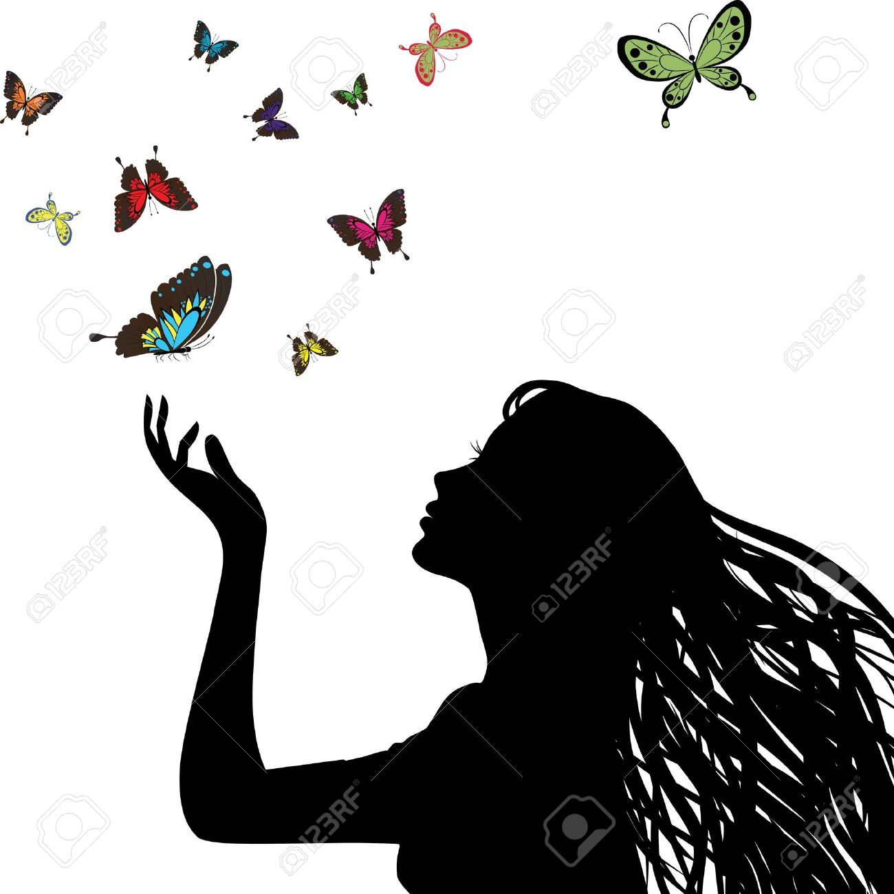 Woman butterfly hair clipart vector png transparent download Stock Vector | Woodburning Ideas | Woman silhouette ... png transparent download
