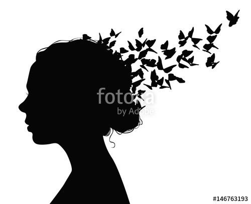Woman butterfly hair clipart vector picture freeuse stock Black vector portrait of a woman with butterflies flying ... picture freeuse stock