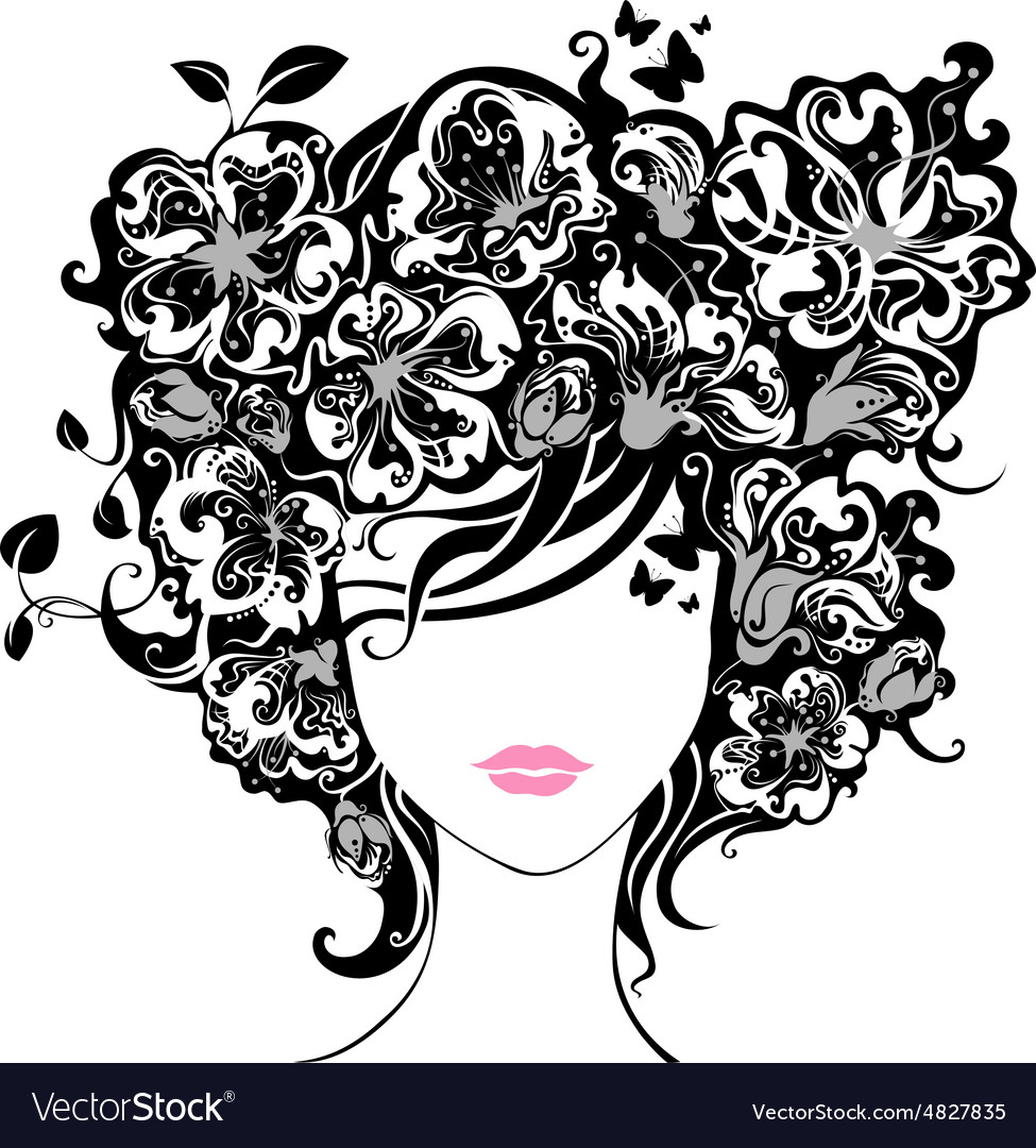 Woman butterfly hair clipart vector picture library stock Woman with flowers in hair picture library stock