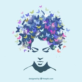 Woman butterfly hair clipart vector png freeuse stock Female Hair Vectors, Photos and PSD files | Free Download png freeuse stock