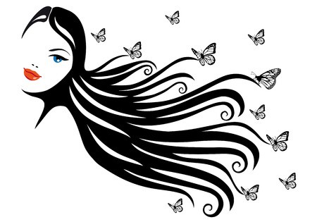 Woman butterfly hair clipart vector svg freeuse stock woman with black hair and butterflies, vector illustration ... svg freeuse stock