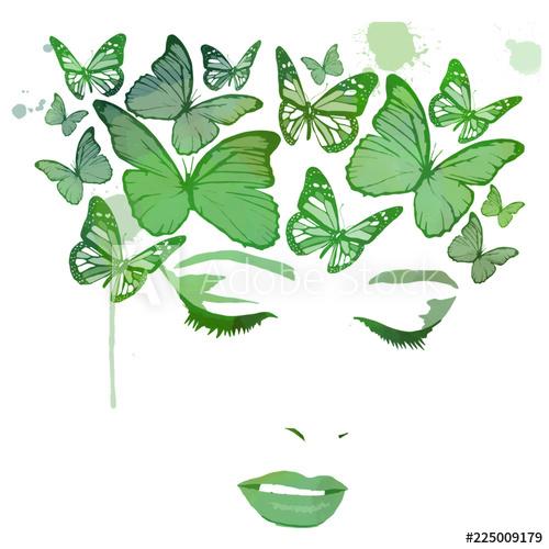 Woman butterfly hair clipart vector jpg black and white Butterfly hair. Girl or Woman with butterflies watercolor ... jpg black and white