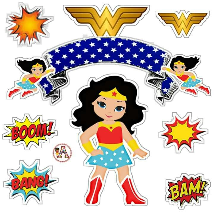 Woman cake topper clipart jpg royalty free download Wonder Woman: Free Printable Cake Toppers. - Oh My Fiesta ... jpg royalty free download