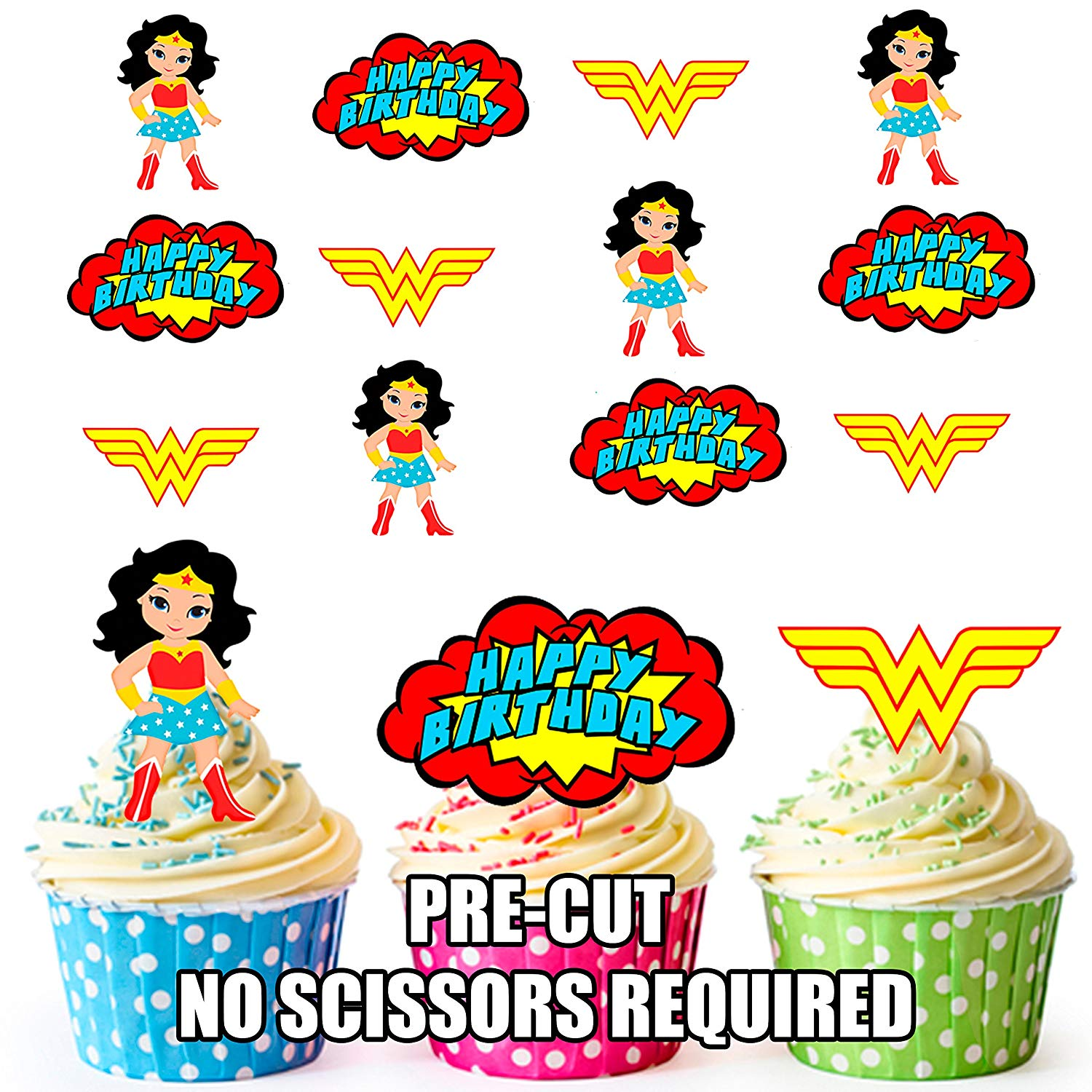 Woman cake topper clipart png free stock AK Giftshop PRE-CUT Wonder Woman Superhero Happy Birthday Pack - Edible  Cupcake Toppers/Cake Decorations (Pack of 12) png free stock