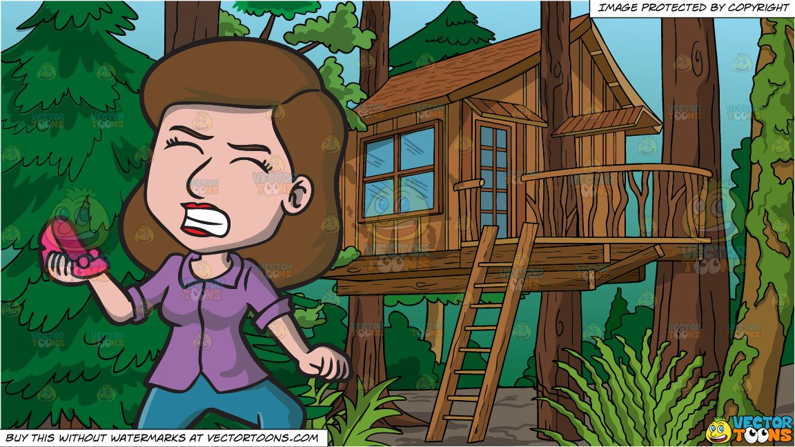 Woman carrying wood clipart picture A Frustrated Woman Carrying Her Broken Shoe and A Treehouse In The Woods  Background picture