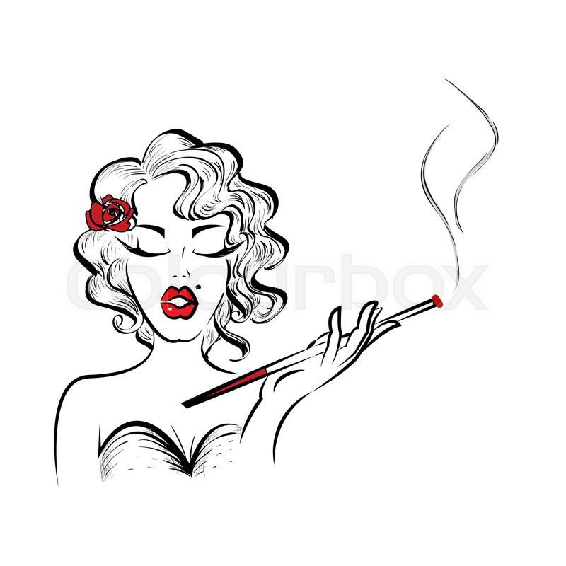Woman cigar clipart royalty free Woman Smoking Drawing | Free download best Woman Smoking ... royalty free