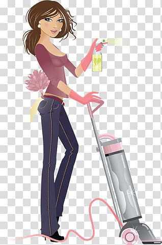 Woman cleaning clipart transparent background clip art royalty free library Woman using vacuum cleaner illustration, Maid service ... clip art royalty free library