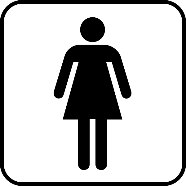 Woman clipart bathroom sign