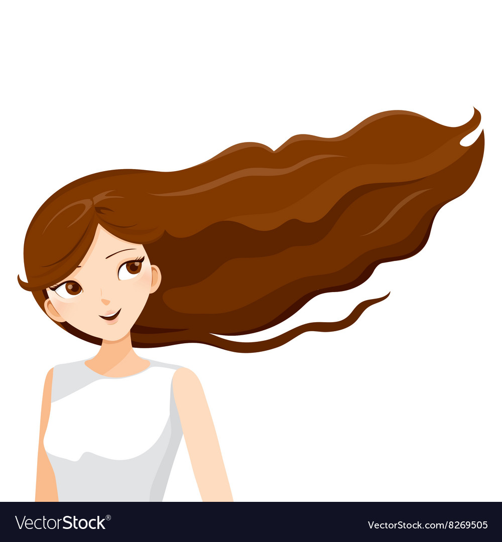 Woman clipart brown hair clip Young Woman With Long Curly Brown Hair clip
