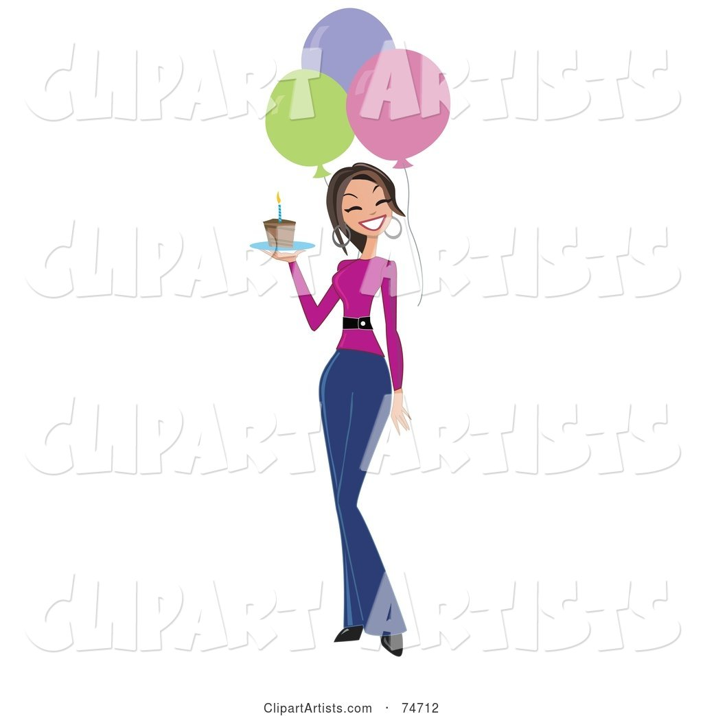 Woman clipart walking graphic stock Happy Birthday Woman Carrying A Slice Of Cake And Walking By ... graphic stock