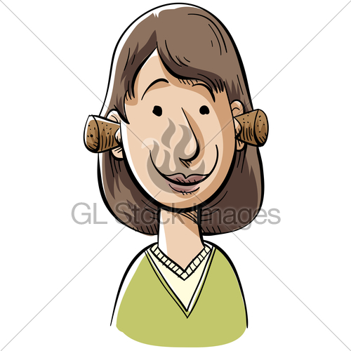 Woman clogging ears clipart clip black and white Plugged Ears · GL Stock Images clip black and white