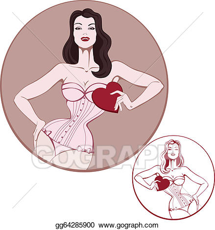 Woman corset clipart vector royalty free Vector Art - Young attractive woman on lingerie hold a heart ... vector royalty free