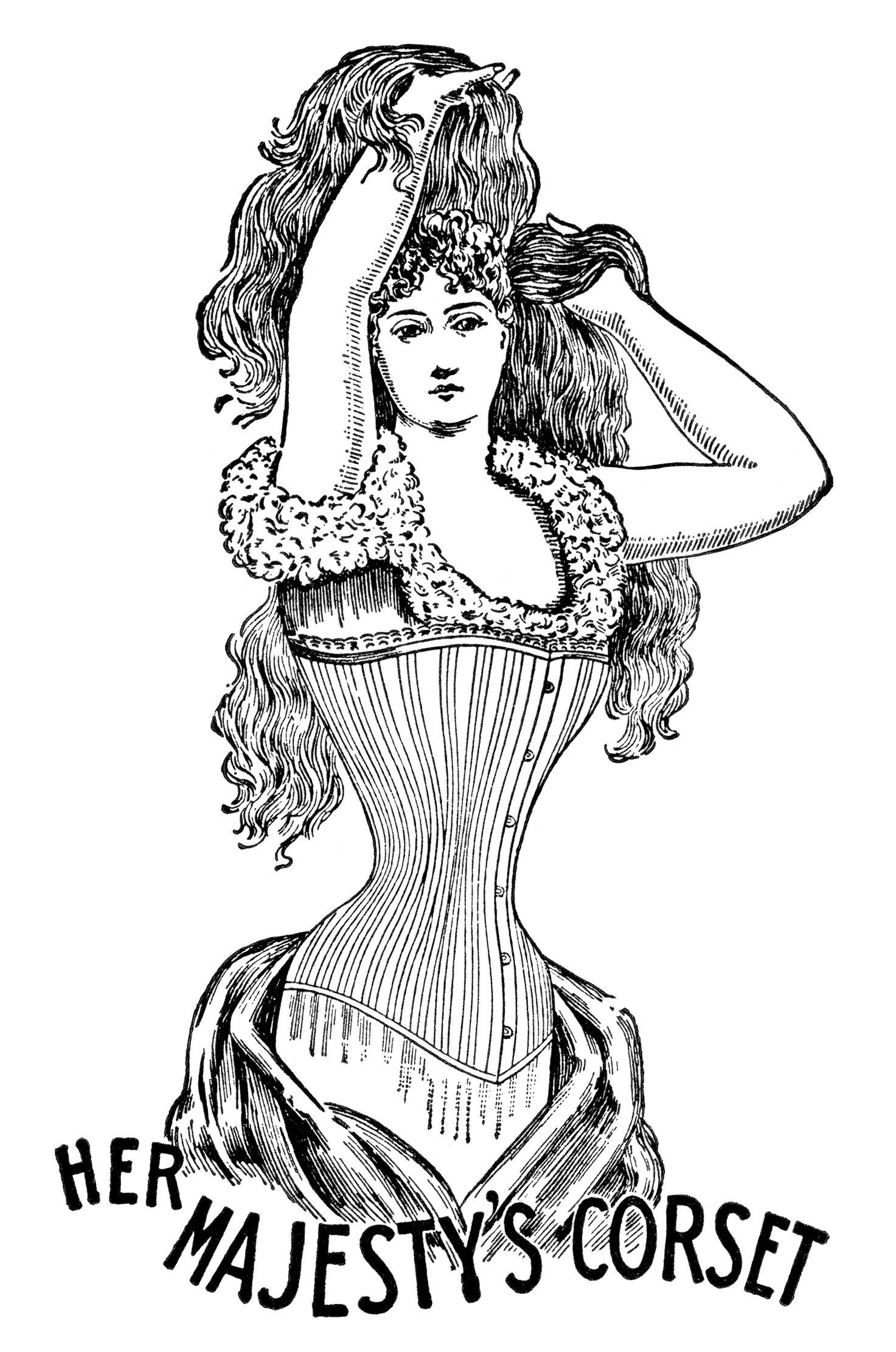 Woman corset clipart clipart royalty free library her majesty\'s corset, black and white clipart, vintage ... clipart royalty free library