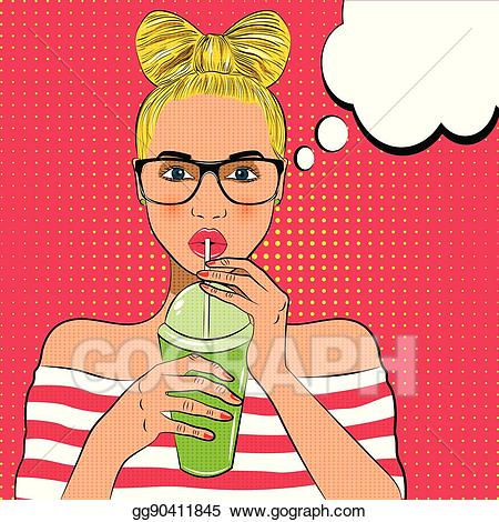Woman drinking cocktail clipart jpg black and white stock EPS Vector - Pop art cute woman drinks cocktail. Stock ... jpg black and white stock