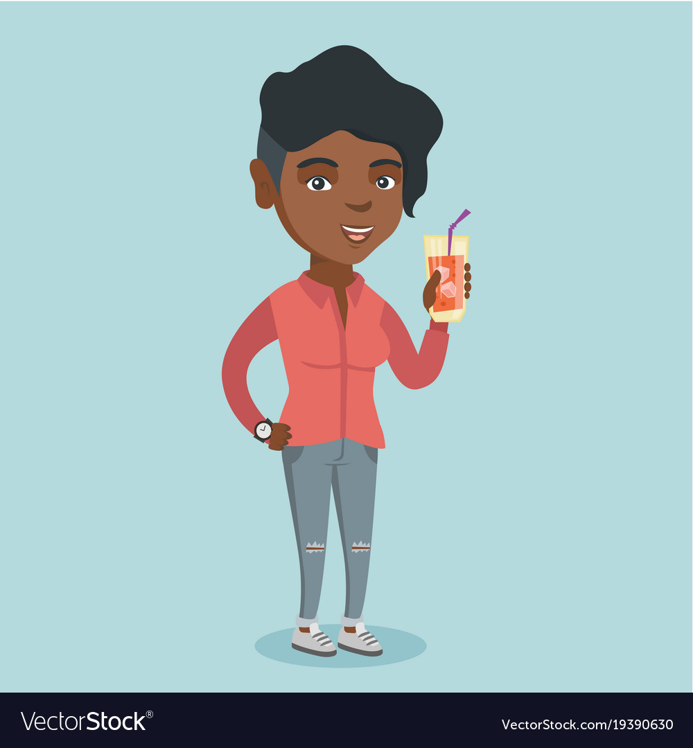 Woman drinking cocktail clipart graphic freeuse Young african-american woman drinking a cocktail graphic freeuse