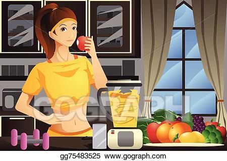 Woman drinking juice clipart jpg free stock Clip Art Vector - Healthy woman making fruit juice. Stock ... jpg free stock