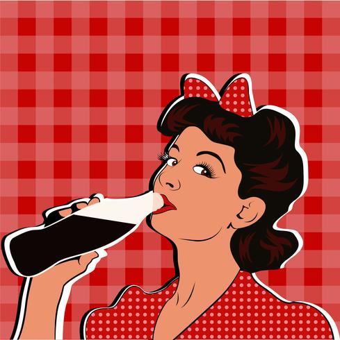 Woman drinking soda clipart clip art free stock Pin up girl drinking soda pop art retro style. Vector ... clip art free stock
