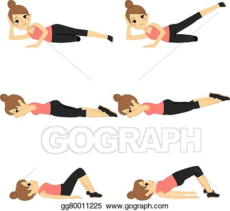 Woman exercising clipart banner library EPS Illustration - Woman exercising fitness. Vector Clipart ... banner library