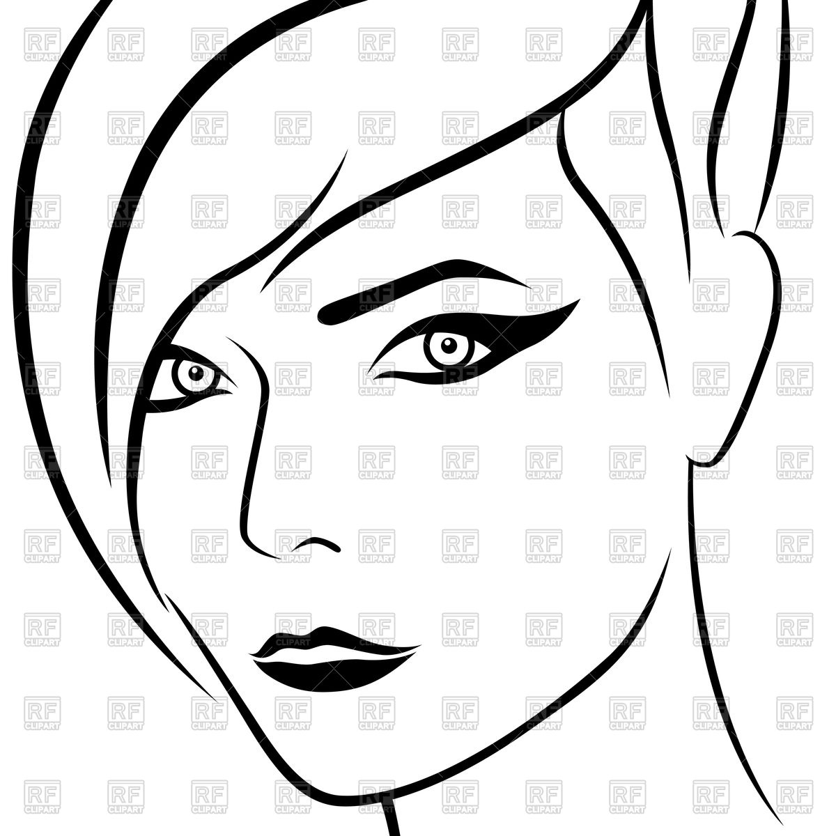Woman face outline clipart picture freeuse Girl Face Outline | Free download best Girl Face Outline on ... picture freeuse