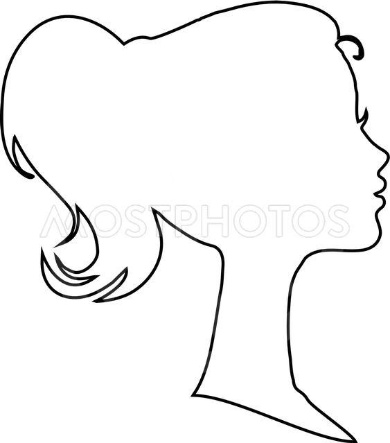 Woman face outline clipart image free download Black profile contour silho...\