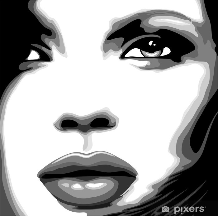 Woman face vector clipart black and white download Viso Donna Clip Art-Stylized Woman Girl\'s Face-Vector Poster black and white download