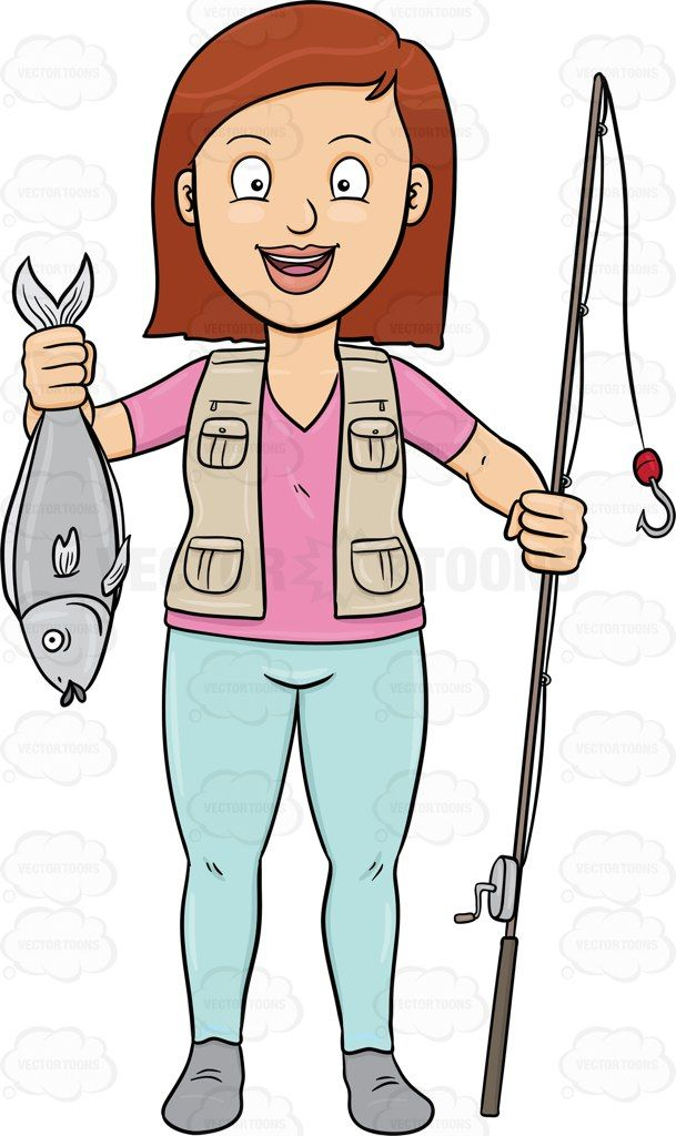 Woman fishing image clipart clip freeuse A Happy Woman Shows Off A Fish She Has Caught With Her Rod ... clip freeuse