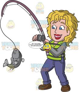 Woman fishing image clipart jpg download A Delighted Woman Catching A Big Fish jpg download