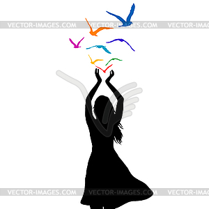 Woman flying silhouette clipart picture download Abstract woman silhouette with birds flying fr - vector image picture download