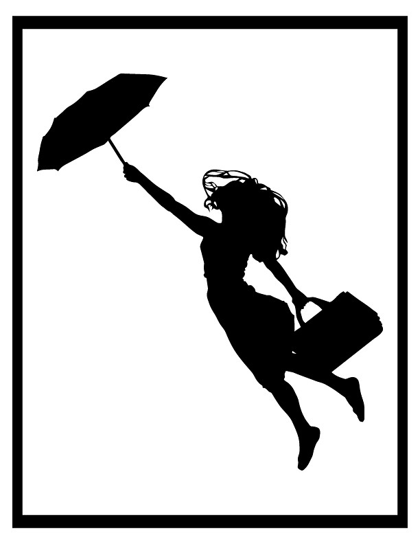 Woman flying silhouette clipart black and white stock Silhouette - Woman flying with umbrella and luggage | Flickr black and white stock