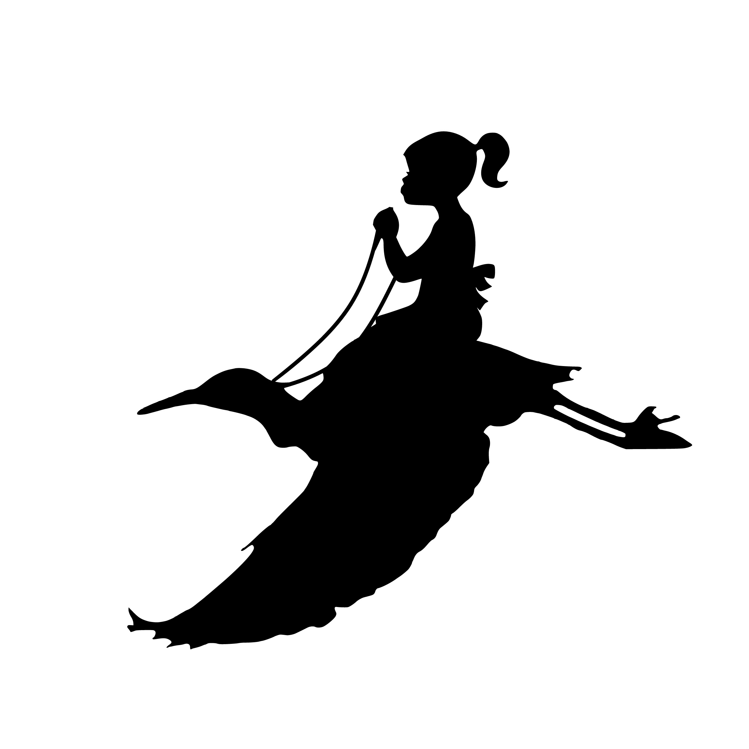 Woman flying silhouette clipart vector black and white library Free Images : flying, girl, bird, riding, dream, design ... vector black and white library