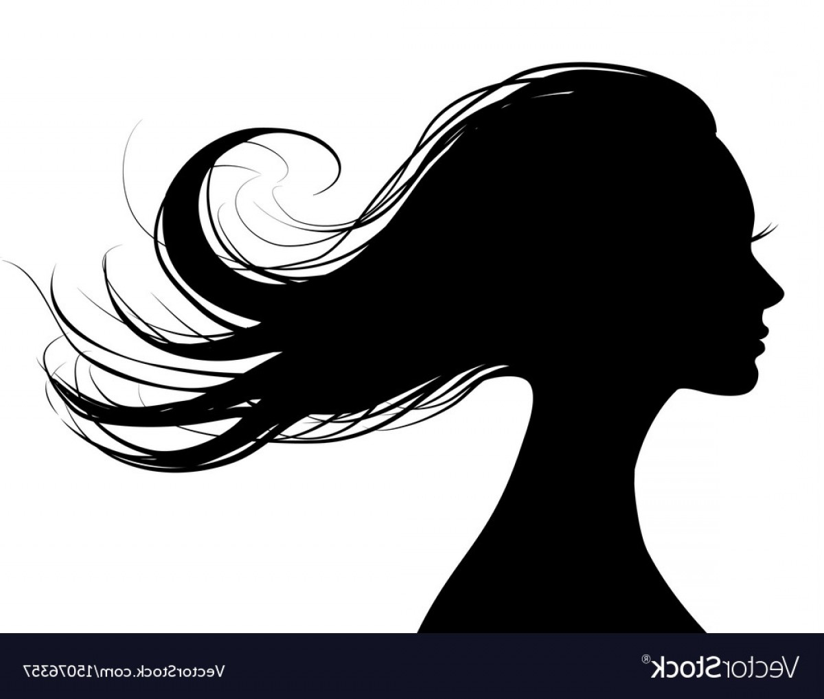 Woman flying silhouette clipart graphic free Head Profile Of A Beautiful Woman With Flying Hair Vector ... graphic free