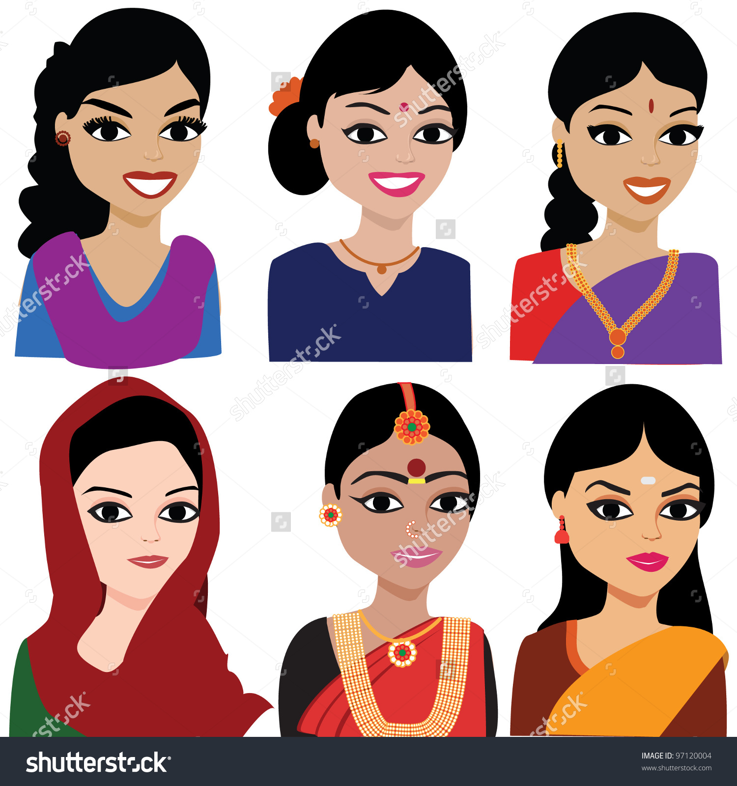 Woman from india clipart clipart transparent stock Indian Woman Vector Avatar Indian Woman Stock Vector 97120004 ... clipart transparent stock