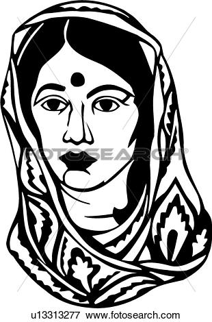 Woman from india clipart vector royalty free library Clip Art of , face, head, india, middleast, people, woman, poses ... vector royalty free library