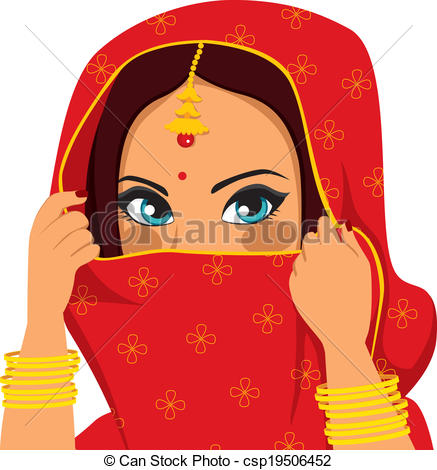 Woman from india clipart clip royalty free download Clipart Vector of Indian Woman Covering Face - Beautiful brunette ... clip royalty free download