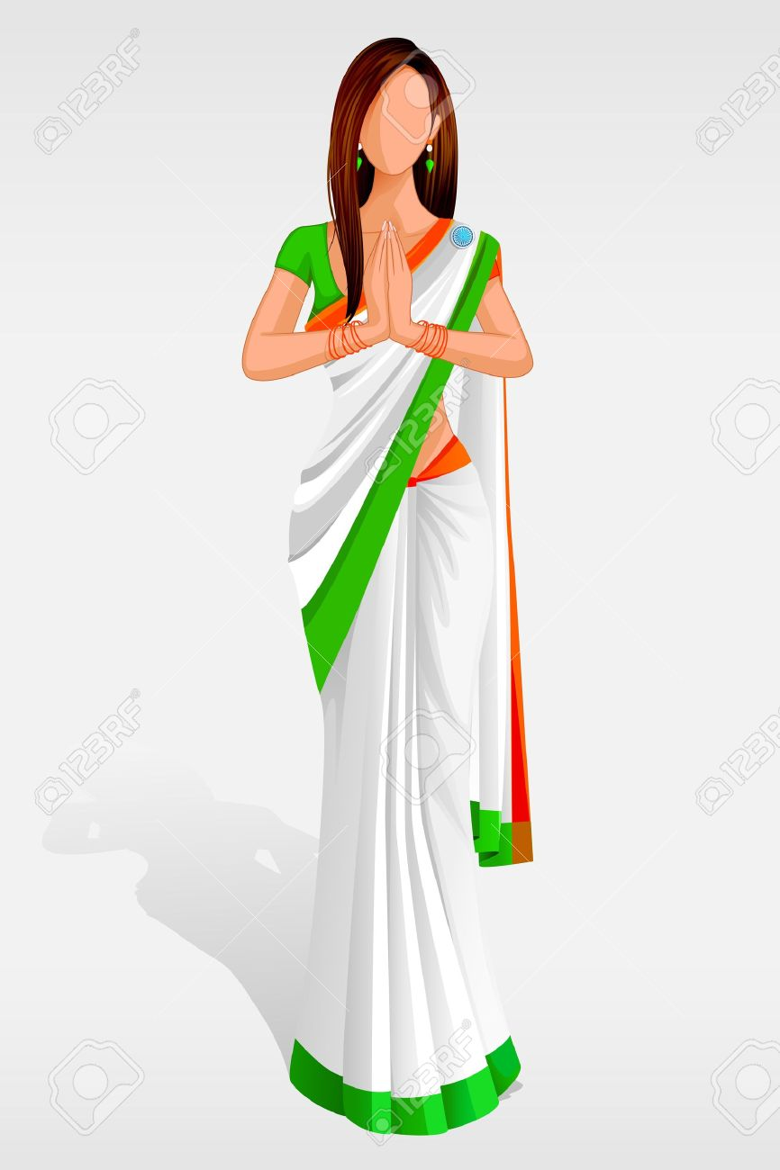 Woman from india clipart svg free library Indian Lady In Indian Flag Sari Royalty Free Cliparts, Vectors ... svg free library
