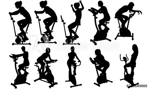 Woman gym clipart picture free download Woman on Exercycle Silhouette | Fitness at Gym Vector ... picture free download