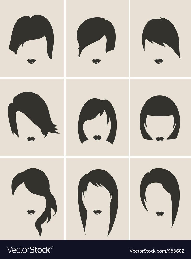 Woman hair silhouette clipart svg free Set of woman hair silhouette svg free