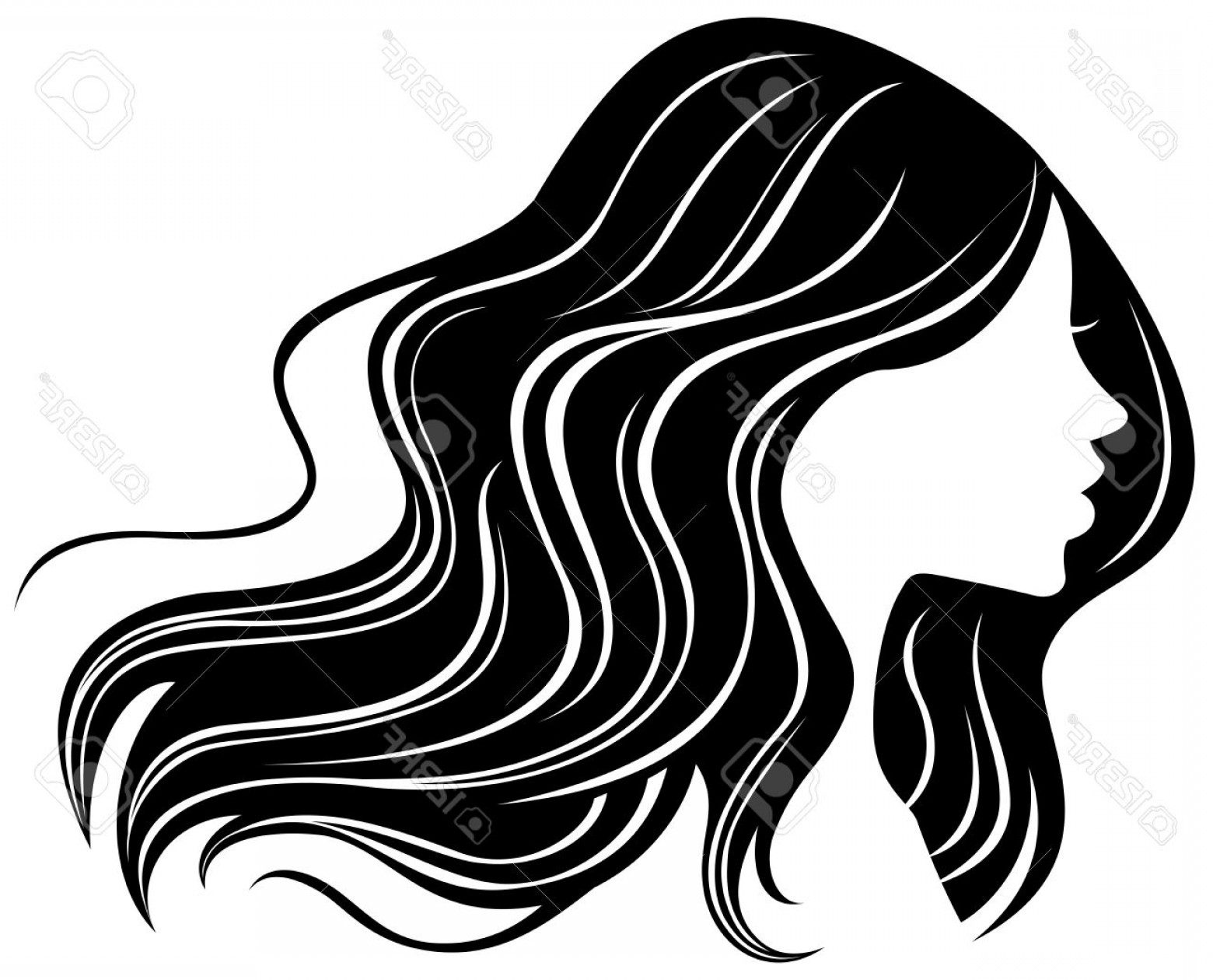 Woman hair silhouette clipart jpg free Photostock Vector Woman Face Silhouette With Wavy Hair ... jpg free