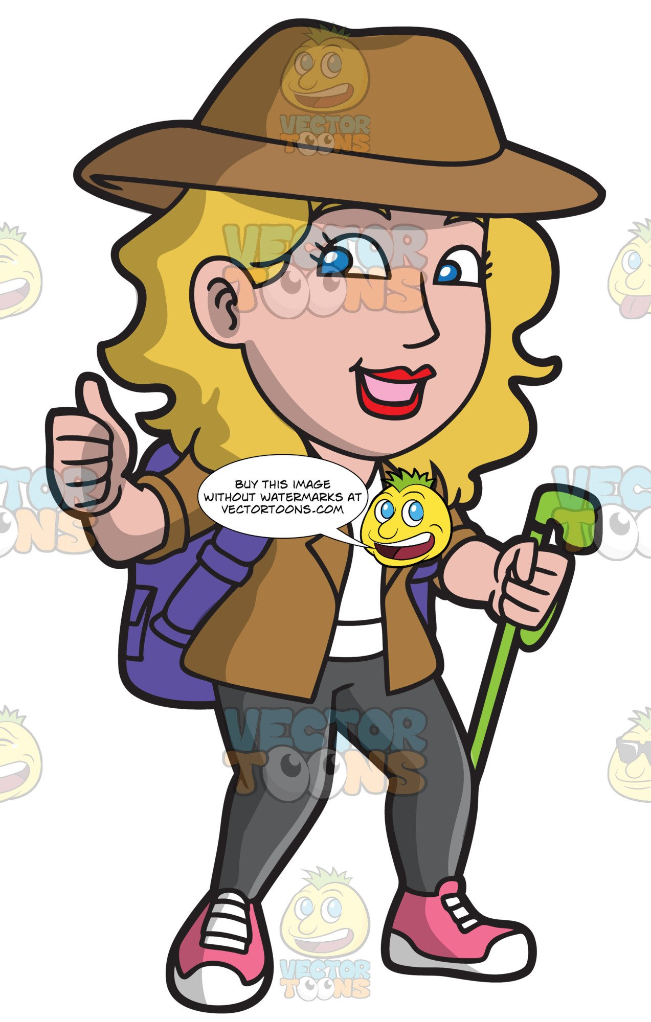 Woman hiking clipart clip free stock A Woman Approving A Great Hiking Trail clip free stock
