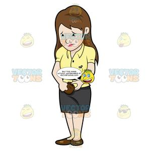 Woman holding a wallet clipart picture black and white stock Sad Woman Looking At Her Wallet picture black and white stock