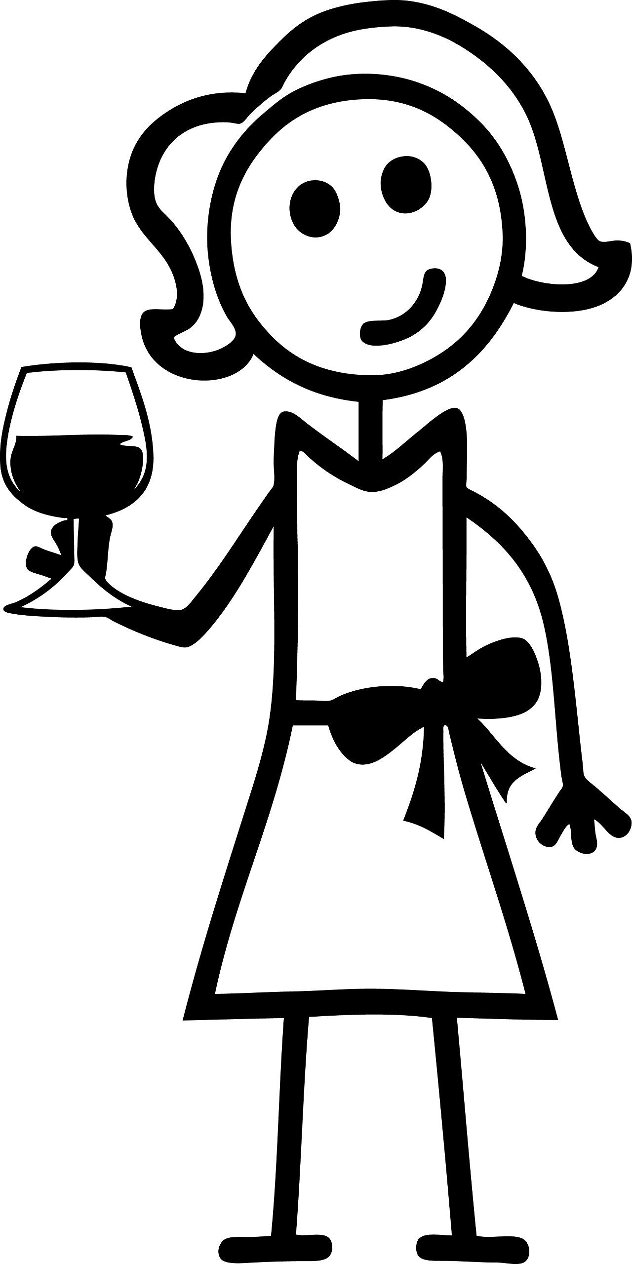 Woman holding wine glass clipart svg library download Amazon.com: STICK FAMILY LADY HOLDING WINE GLASS STICKER 5 ... svg library download
