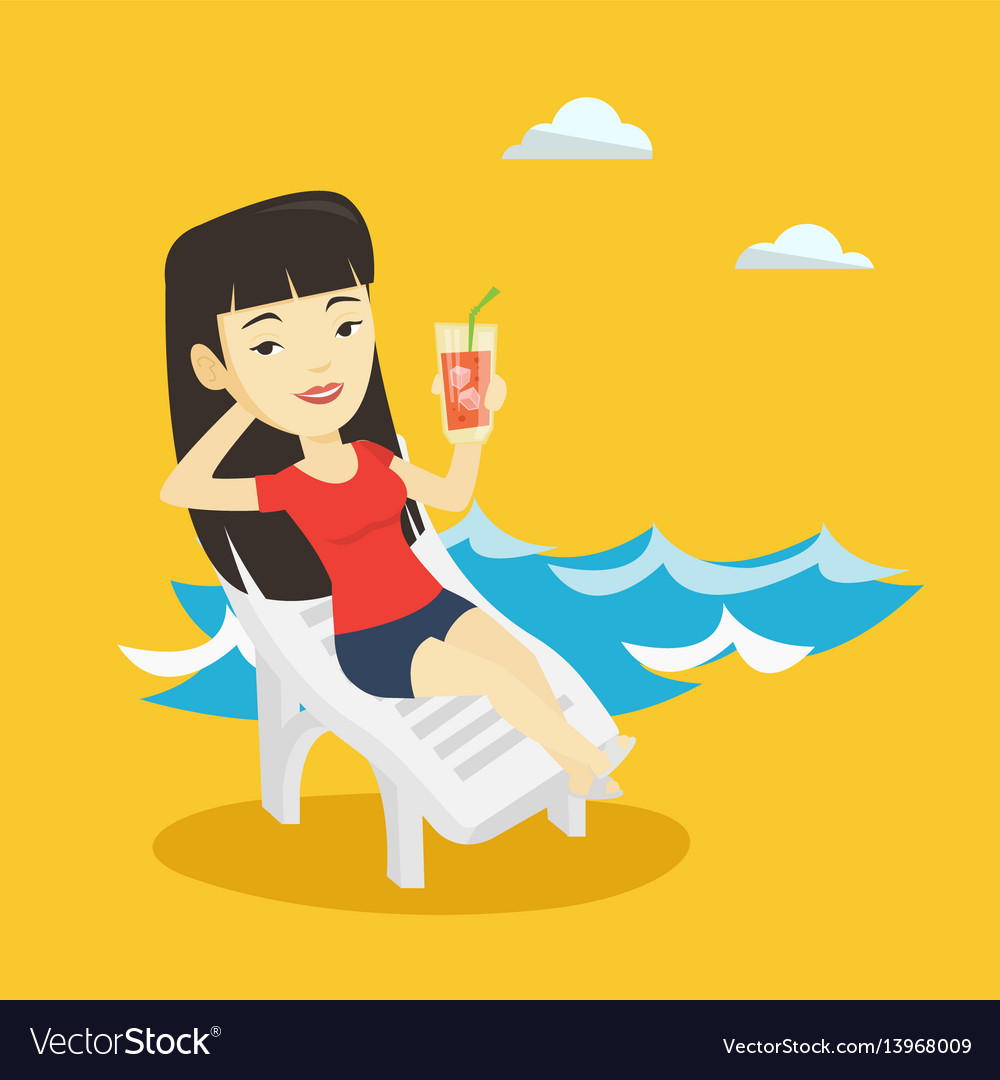 Woman in beach chair clipart free Woman relaxing on beach chair Royalty Free Vector Image free