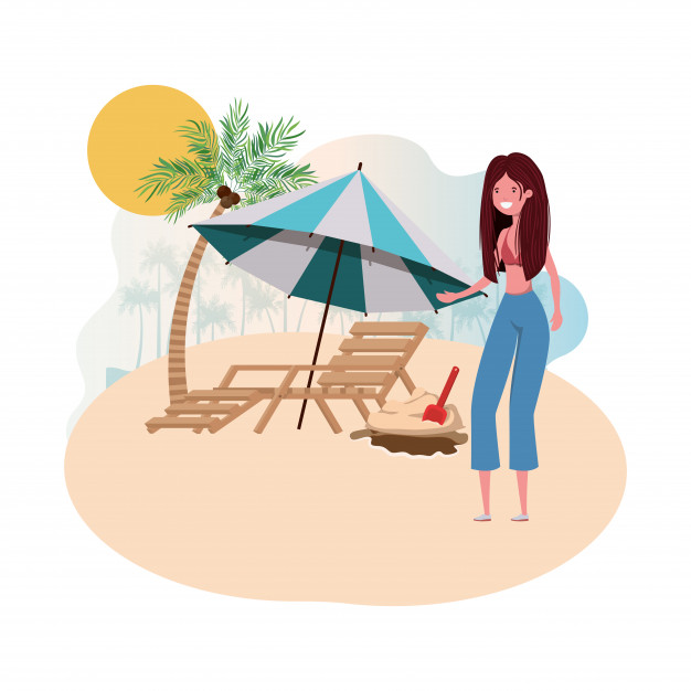 Woman in beach chair clipart clip freeuse download Woman on island with swimsuit and beach chair Vector   Free ... clip freeuse download