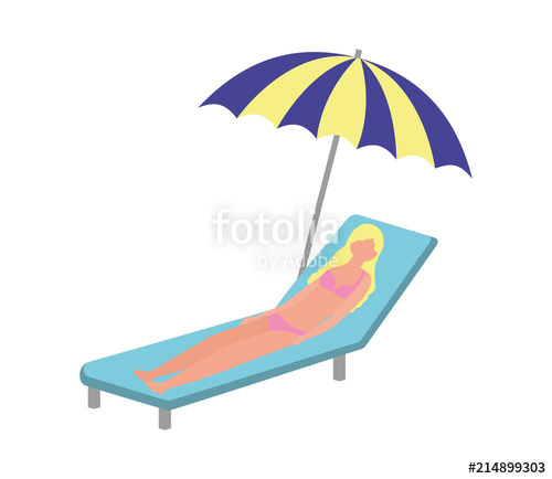 Woman in beach chair clipart jpg free library woman with swimsuit in beach chair and umbrella icon\